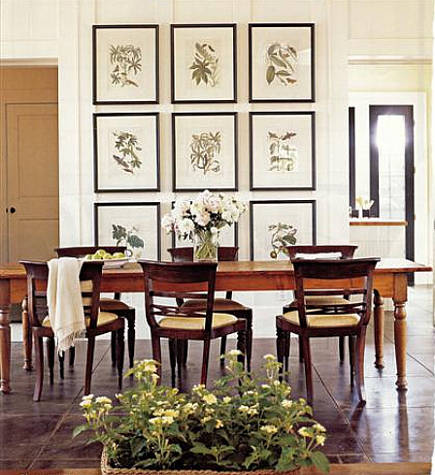 dining room picture wall of botanical prints
