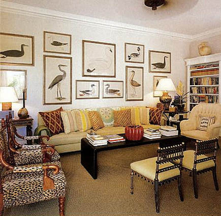 animal prints on wall in Bunny Williams' home