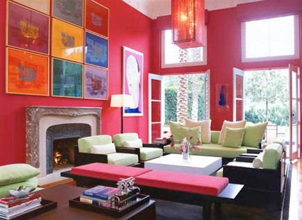 picture wall in a fuschia living room by Marjorie Skouras