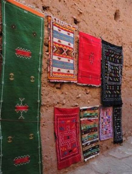 Carpets hanging ouside the kasbah of Ait Benhaddou