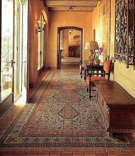 Persian tile rugs - at The Adamson House in Malibu California - via Atticmg