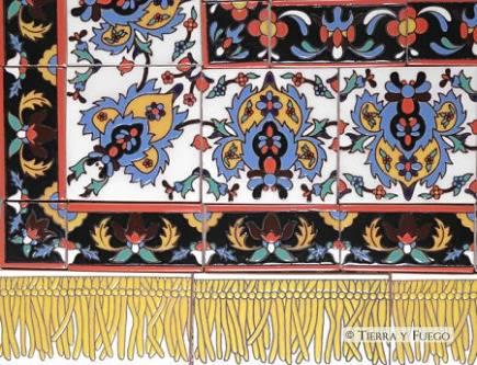 Persian tile rugs - ceramic tile rug - Tierra y Fuego via Atticmag