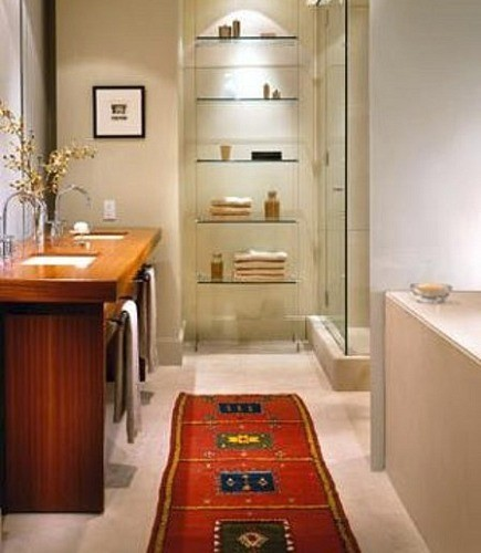 rugs in bathrooms - oriental runner rug in the bathroom from Mitchell Freedland Design via Atticmag