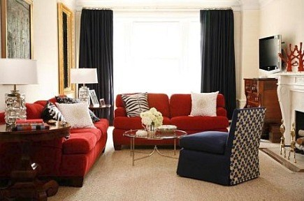 Living room with custom sized Berber style carpet by designer Amanda Nisbet