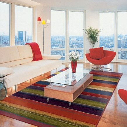 Andy Warhol Pop multicolor stripe rug from Oriental Weavers - via Atticmag