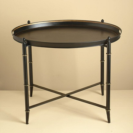 black with gold accents tray table