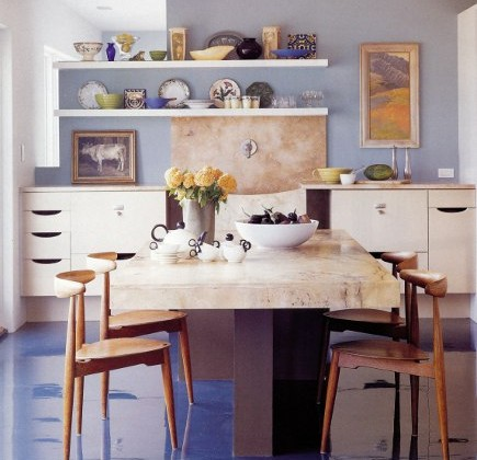 blue floor - epoxy paint floor in a loft kitchen adds vivid color - Met Home via Atticmag
