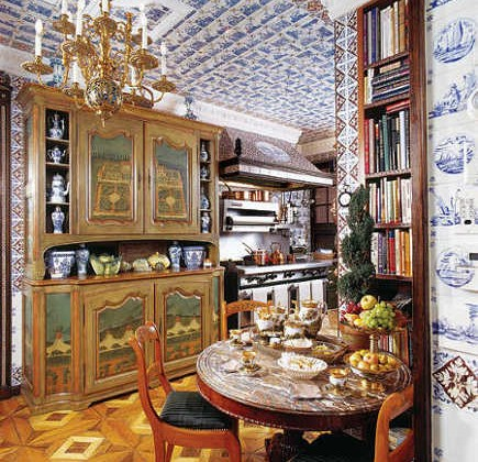 Delt tile motif in Howard Slatkin's kitchen NYC apartment kitchen - NY Mag via Atticmag