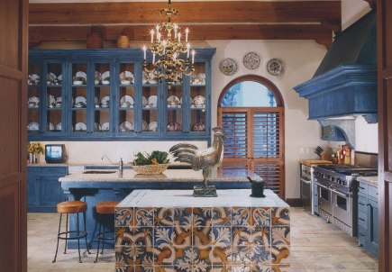 Texas kitchen with indigo blue cabinets designed by Bunny Williams