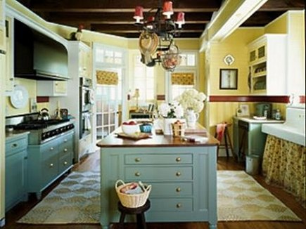 cottage style kitchen with teal blue cabinets