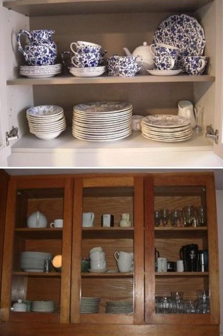 kitchen upgrades - light interior of newly repainted cabinet 9top) and old cabinet before repainting - Atticmag