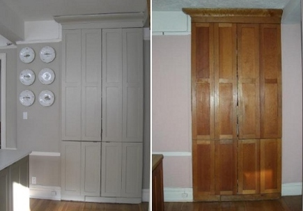 kitchen upgrades - repainted pantry cabinet (top) and the fir cabinet before repainting (bottom) - Atticmag