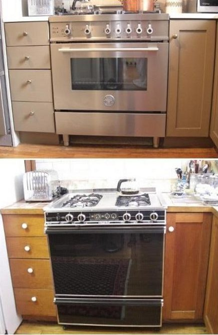 kitchen upgrades - top: Bertazzoni all gas professional series range and bottom: old Modern Maid range - Atticmag