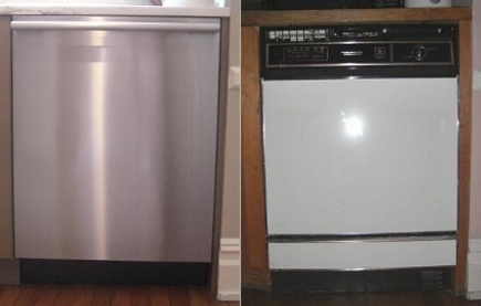 kitchen upgrades - new Miele Optima dishwasher (left) and old GE Potscrubber dishwasher (right) - Atticmag
