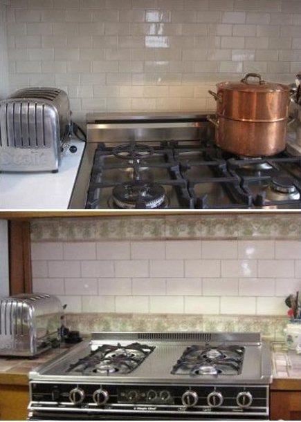 kitchen upgrades - new Ann Sacks taupe tile backsplash (top) and old vintage tile backsplash (bottom) - Atticmag