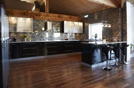 contemporary Swedish kitchen with dramatic patterned tile