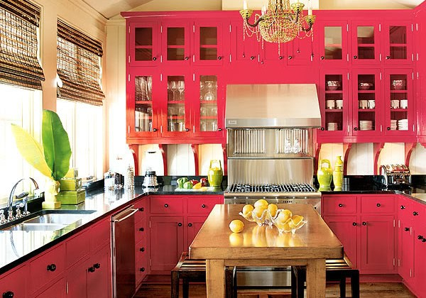 red kitchen cabinets painted with Sherwin Williams chanticleer red - Southern Accents via Atticmag