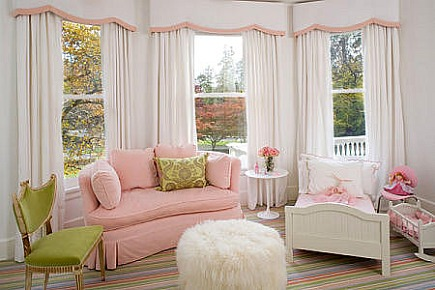 pink white and green toddlers to kids bedroom by Robyn Karp Interiors via Atticmag
