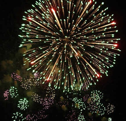 New Year's eve fireworks in the night sky