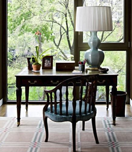 window pane rug in home office from Todd Romano