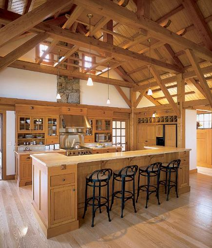 mission style cabinets in a barnlike space
