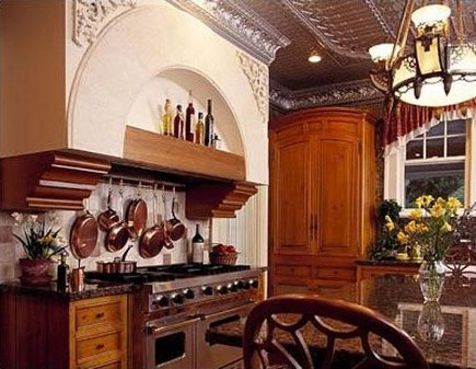 kitchen with tin tile ceiling and elaborate detailing