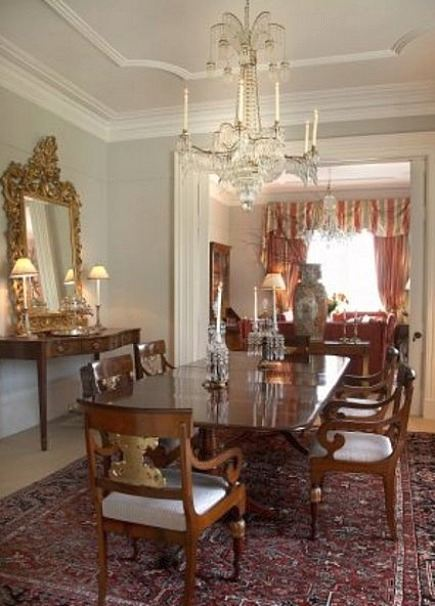 stone mansion - stone mansion - formal dining room with antique mirror and chandelier in Canada's historic Maus Park outside Toronto - mauspark via atticmag