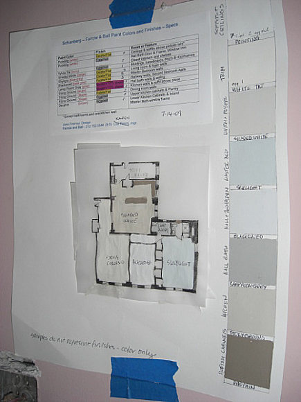 paint specification chart for apartment renovation