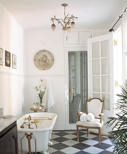 Marble Pattern Floors   Black And White Checkerboard Bathroom Floor   House  Beautiful Via Atticmag