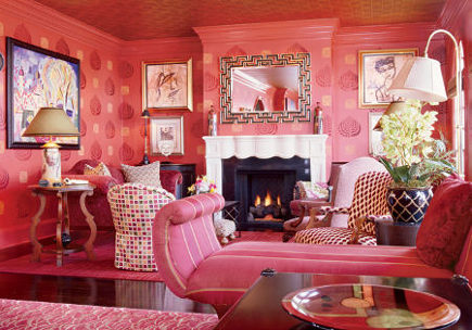 Mary Matalins Bright Rose Patterned Living Room Vivid Color