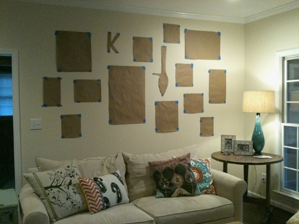 informal picture wall - paper templates attached to the picture wall - Atticmag