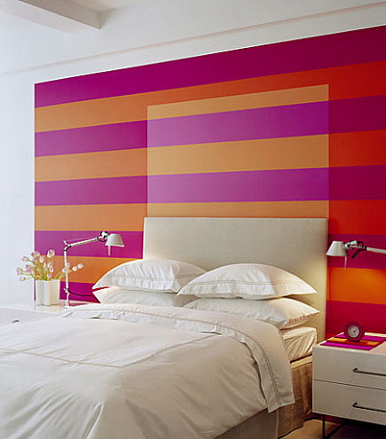 Bedroom Accent Walls - Striped accent walls bedrooms