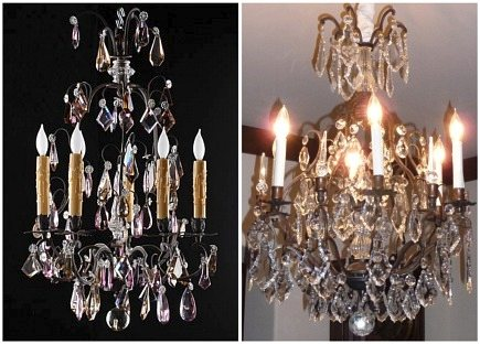 French crystal bronze chandelier with amethyst drops