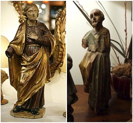 antique wooden French religious statues of St Joseph - Alhambra Antiques via Atticmag