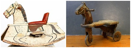 vintage wooden rocking horse and wheeled horse riding toy