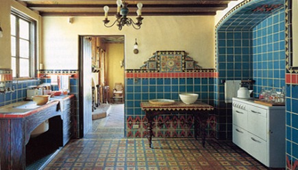 hand painted tiles in the Adamson House kitchen via Atticmag