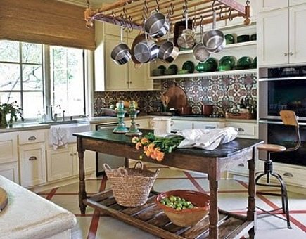 hand painted tiles on backsplash in rustic kitchen from House Beautiful via Atticmag