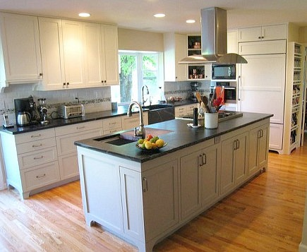 renovated black and white kitchen designed for a serious cook