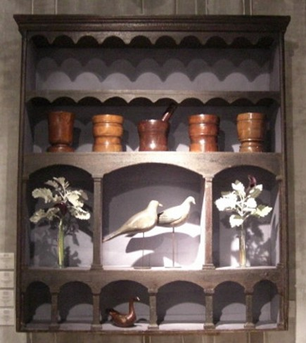 kitchen shelves - black-painted 18th century English open display shelf at the Winter Antiques Show - Atticmag