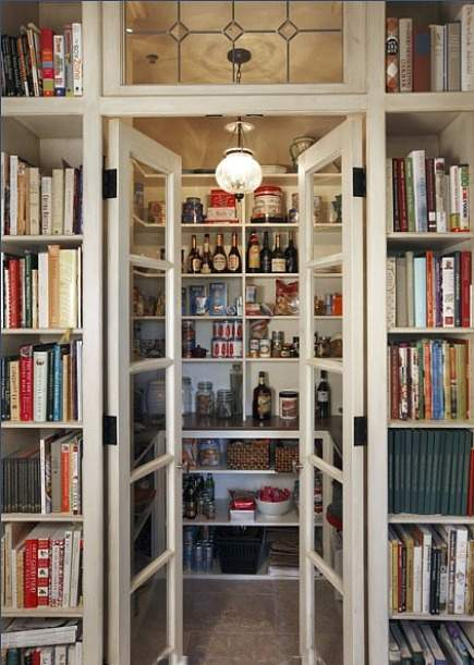 pantry ideas - kitchen pantry with glass french doors and bookshelves on each side of doorway - Design Babylon Interiors via Atticmag