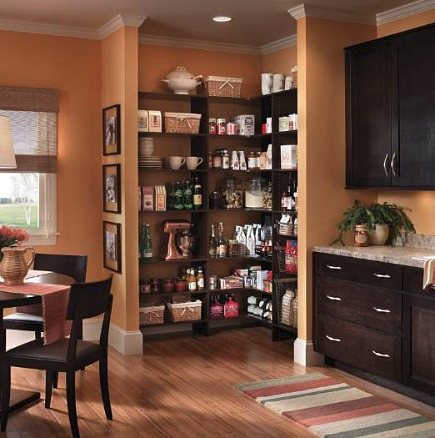pantry ideas - open corner pantry with no doors - via Atticmag