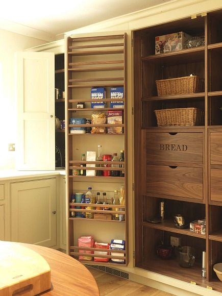 pantry ideas - fitted English larder cabinet with interior labeled wood drawers - via Atticmag