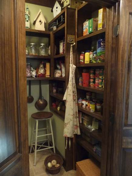 Alabama stone cottage pantry with double french doors