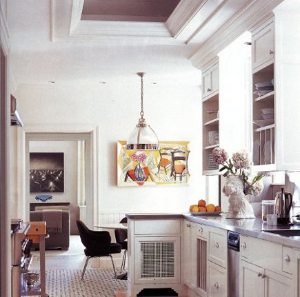 kitchen cabinet doors - open upper cabinet storage in a high end renovated white Chicago kitchen - Met Home via Atticmag