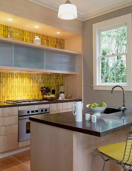 gray kitchen with yellow custom embossed Heath Tile backsplash