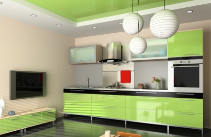 modern lime green kitchen cabinets with black detailing - Atticmag