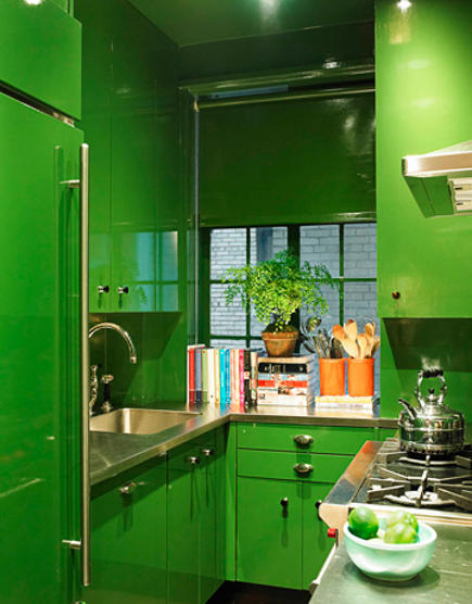 bright green kitchen with modernist cabinets by Miles Redd
