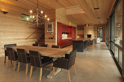 modern camp kitchen - red kitchen in family camp-like compound by CCS Architecture via Atticmag