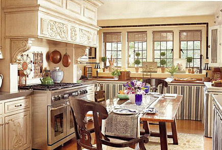 magazine show house kitchen with striped skirted Schumacher fabric on cabinets
