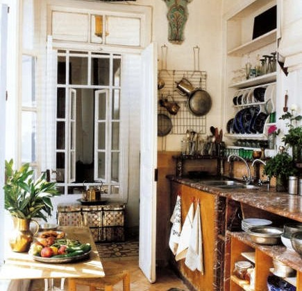 rustic middle eastern kitchen with marble in a house in Damascus - WOI via Atticmag